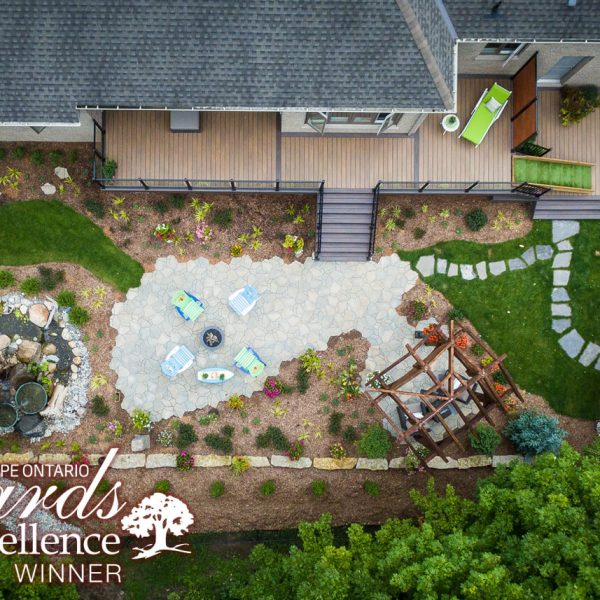 Water feature patio deck landscaping pergola