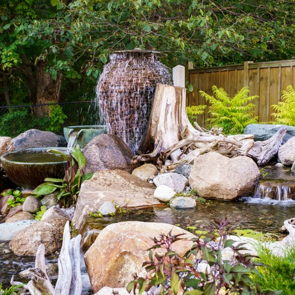 Water Feature with Decorative Urns and Spillway Bowls